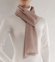 Off white wool and silk plain scarf