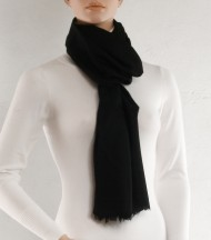 Brown wool and silk plain scarf
