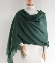 Green wool and silk plain stole
