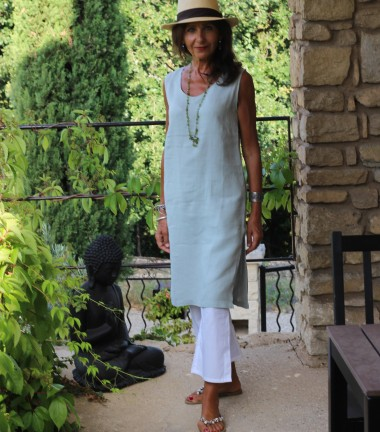 Linen dress green grey