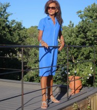 Blue linen long buttoned dress