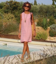 Linen dress without sleeves pink