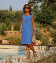 Linen dress without sleeves blue