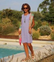 Linen dress without sleeves lilac