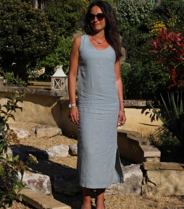 Long linen dress green grey