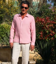 Linen shirt light pink