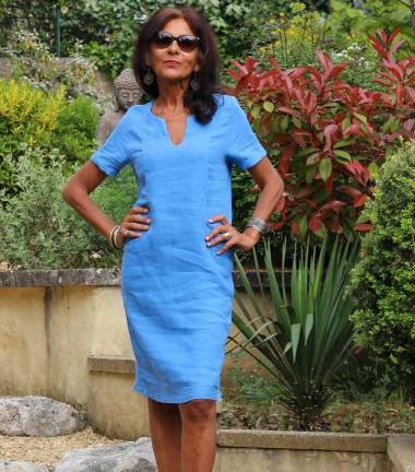 Linen dress royal blue