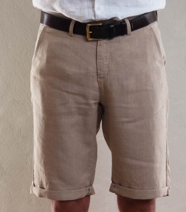 Beige linen men's short