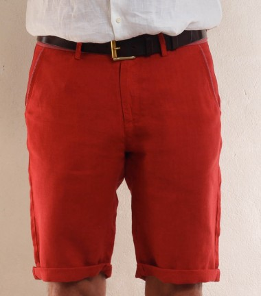 Red linen men's short