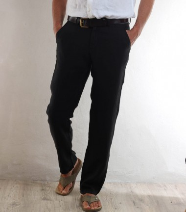Black linen men's pants